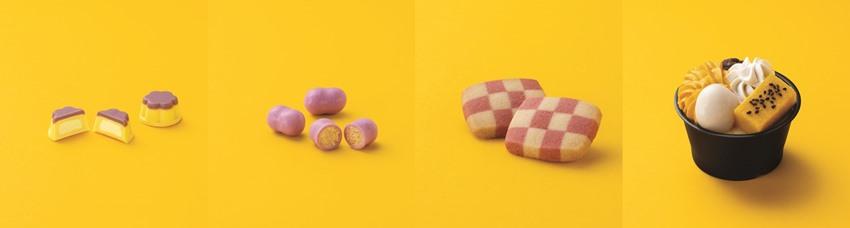 (左から)「紅はるかのプリンチョコ」(税込149円)、「紅はるかコーンチョコ」(税込138円)、「2色の紅はるかクッキー」(税込278円)、「安納芋の和パフェ」(税込298円)