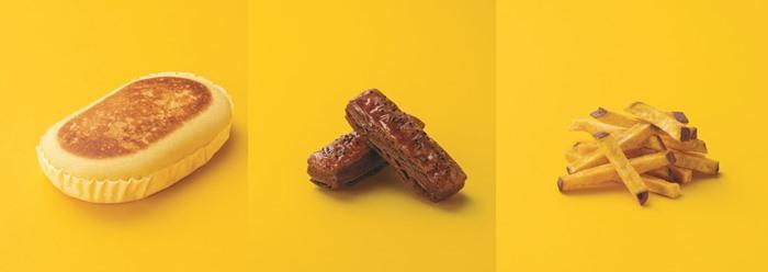 (左から)「スイートポテト蒸しケーキ」(税込138円)、「大学芋なスティックドーナツ」(税込138円)、「カルビー 安納芋スティック」(税込197円)
